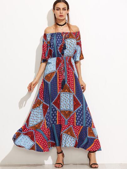 Multicolor Patchwork Off The Shoulder Fringe Dress