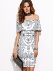 White Vintage Print Foldover Off The Shoulder Bodycon Dress