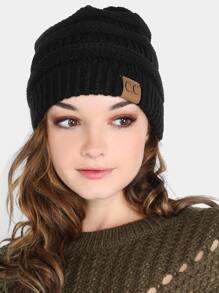 Thick Knit Round Beanie BLACK