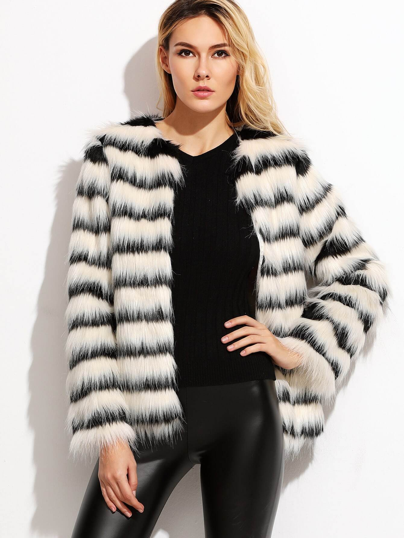 Coats Black and White Faux Fur Collarless Elegant Short Winter Striped Fabric has no stretch Long Sleeve Outerwear.