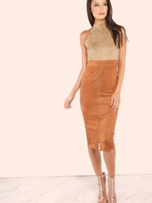 Faux Suede Mock Neck Zip Slit Dress TAUPE RUST