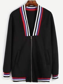 Contrast Striped Trim Baseball Jacket