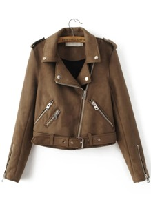 Epaulet Detail Buckle Belt Hem Suede Jacket