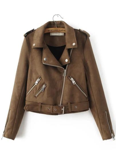 Brown Oblique Zipper Suede Jacket With Buckle