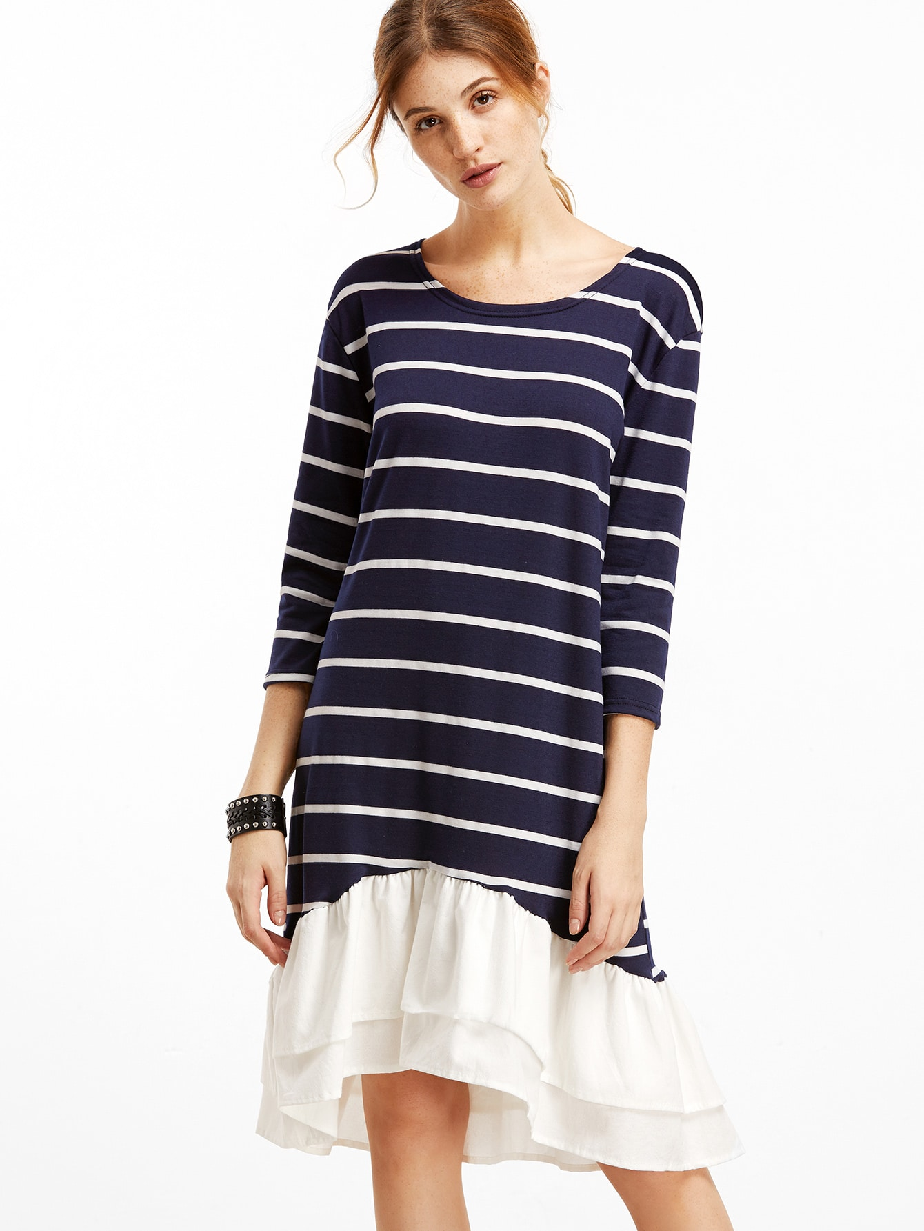 Contrast Striped Ruffle Hem High Low DressContrast Striped Ruffle Hem High Low Dress<br><br>color: Navy<br>size: L,M,XL