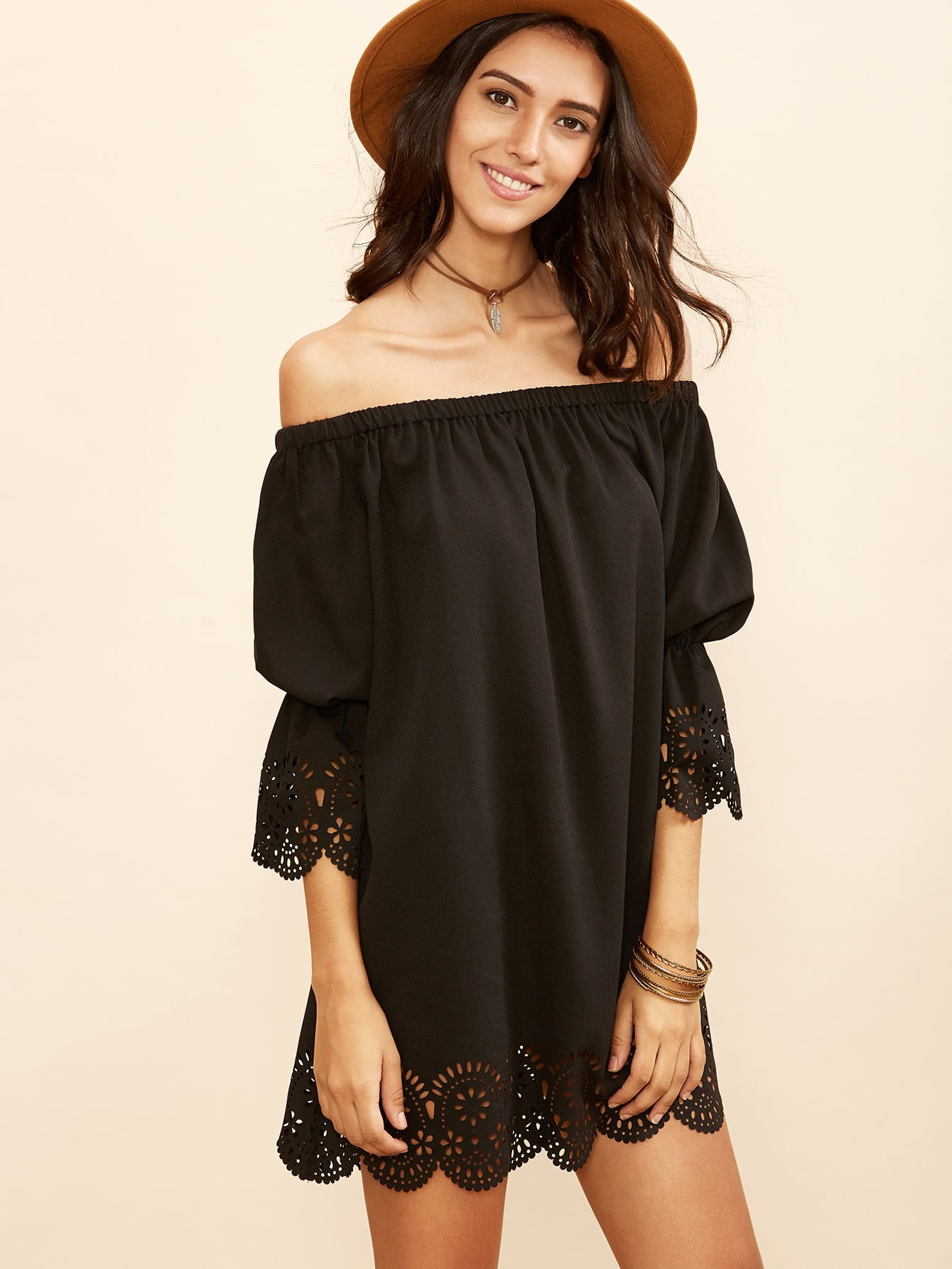 Black Laser Cutout Off The Shoulder Scallop Dress dress160901506
