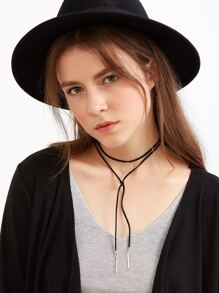 Black Geometric Pendant Wrap Choker Necklace