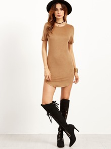 Camel Faux Suede Curved Hem Bodycon Dress