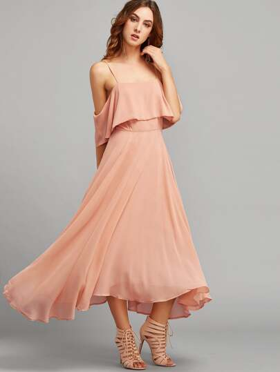 Flounce Layered Cold Shoulder Swing Dress
