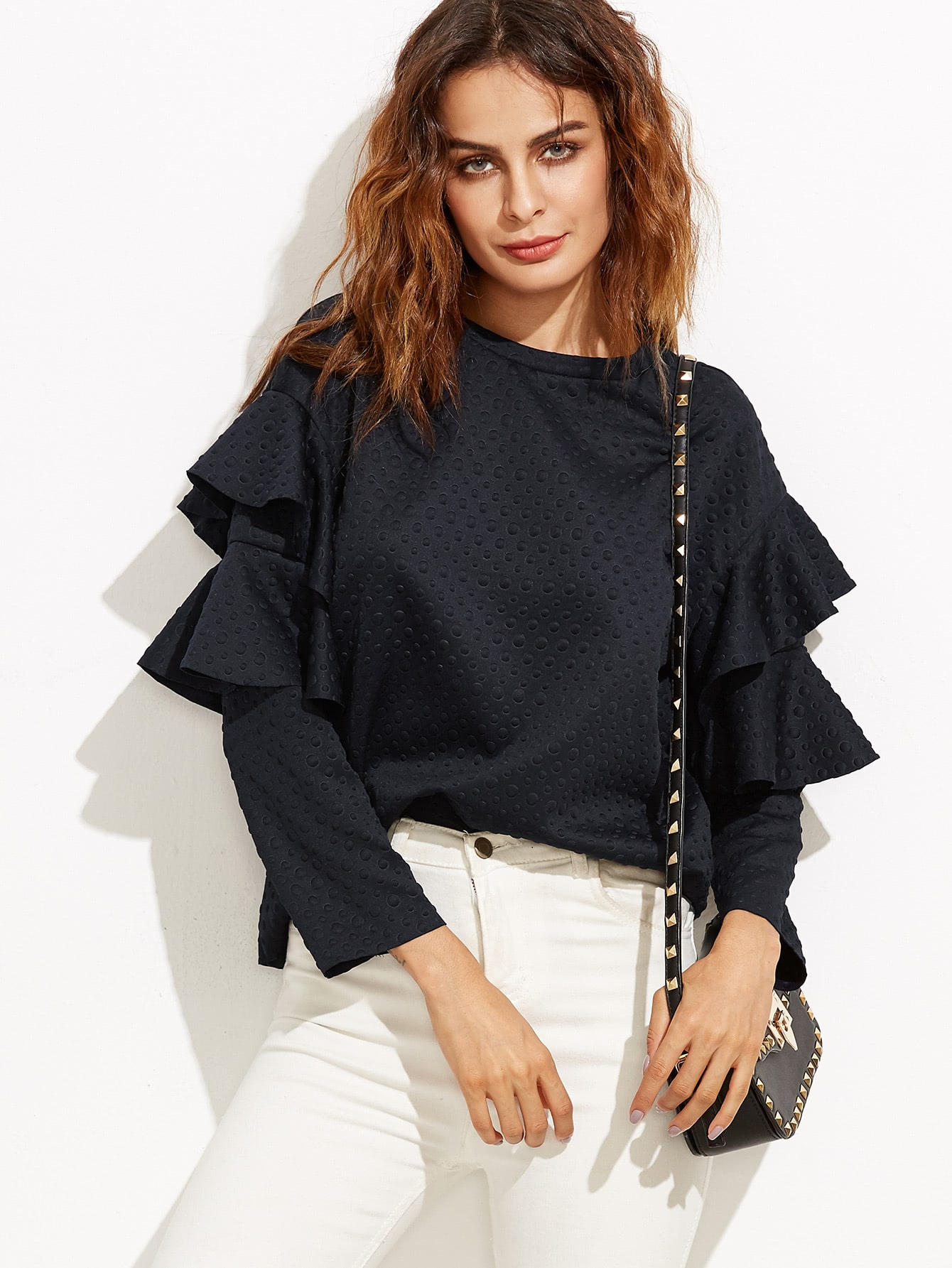 Black Polka Dot Embossed Layered Ruffle Sleeve BlouseBlack Polka Dot Embossed Layered Ruffle Sleeve Blouse<br><br>color: Navy<br>size: L,M,S,XS