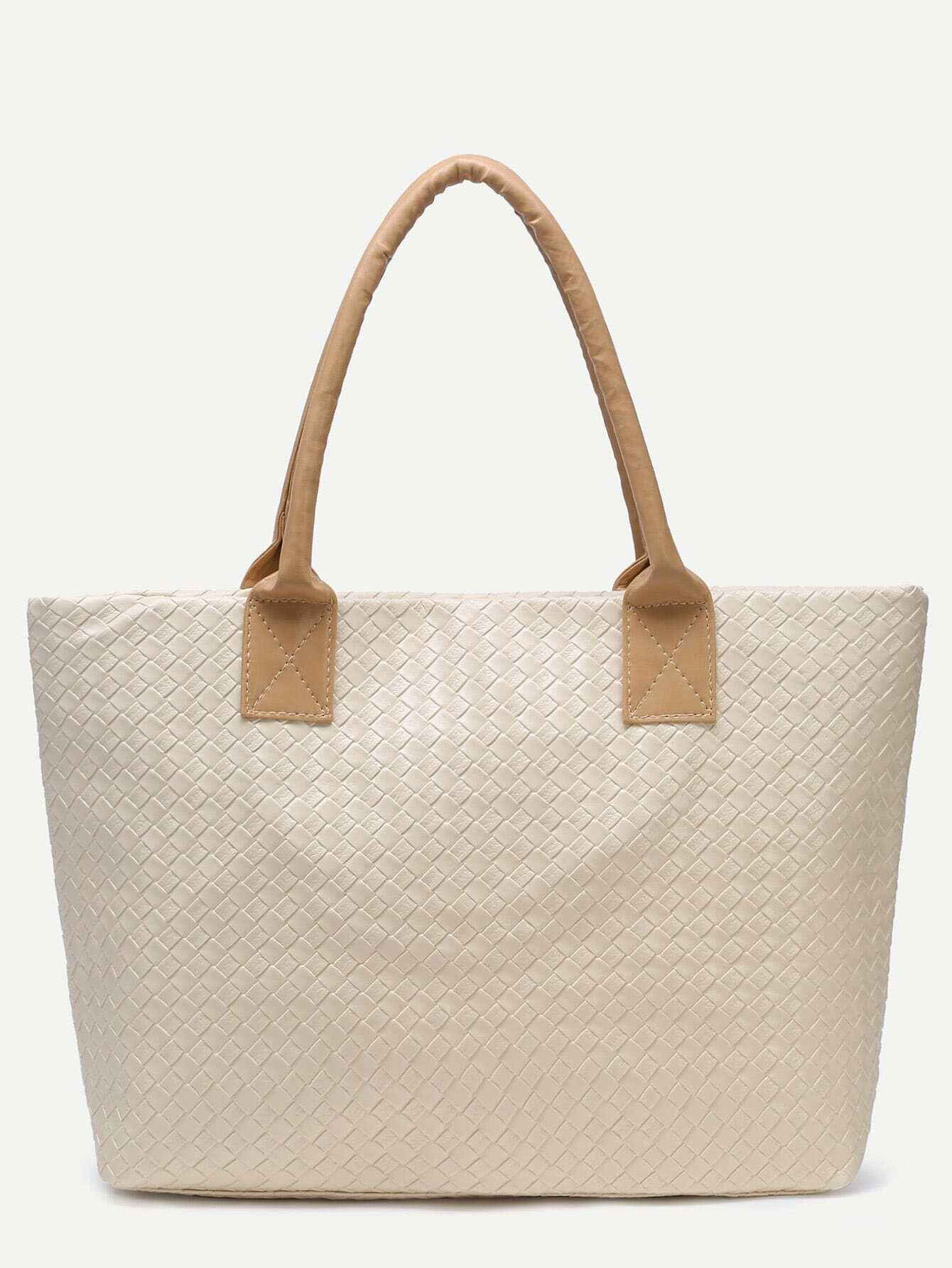 Beige Woven PU Tote Bag Image