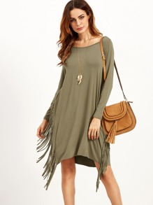 Olive Green Long Sleeve Fringe Dress