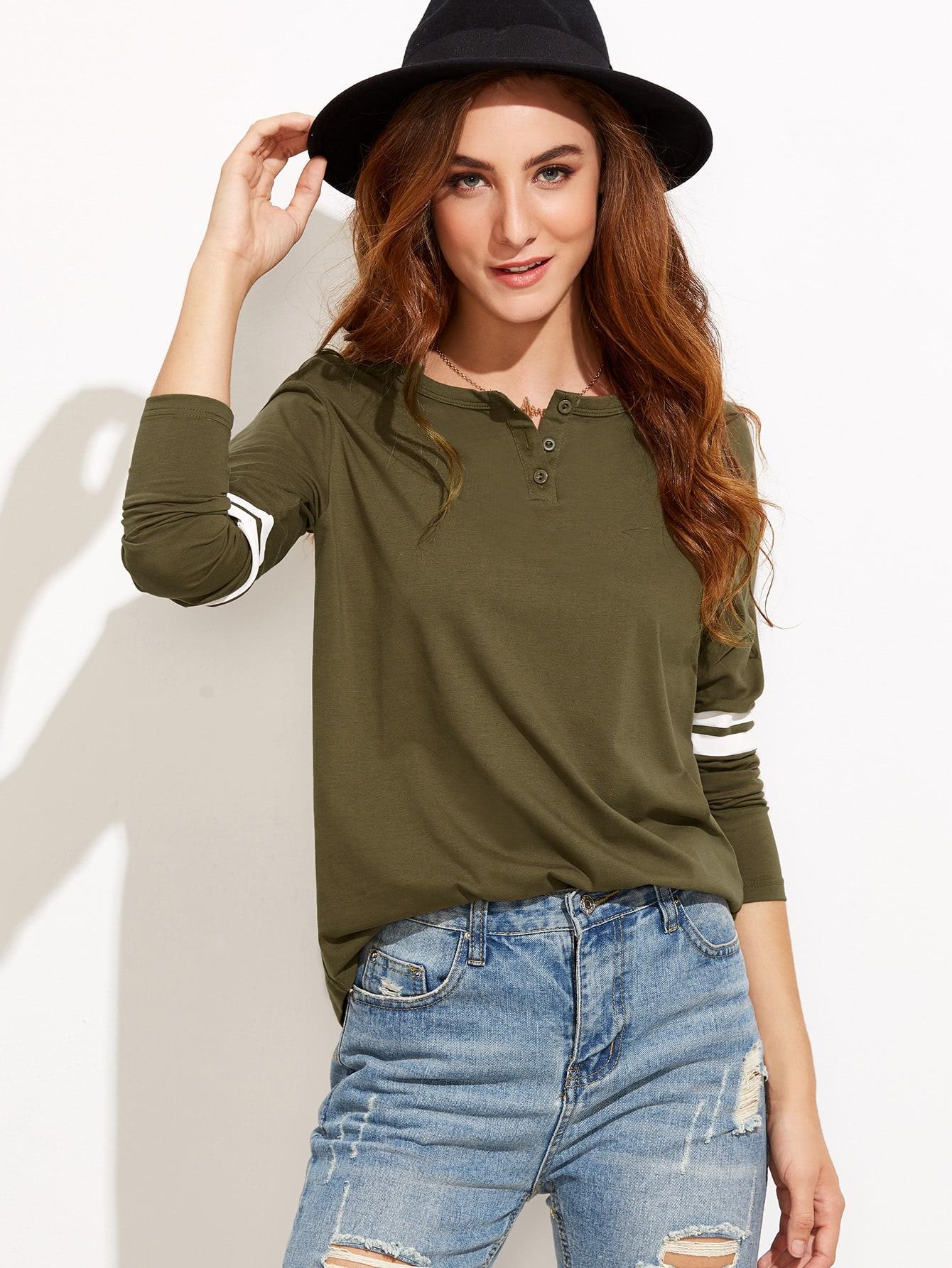 Button Neck Striped T-shirt lisa marie fernandez юбка длиной 3 4