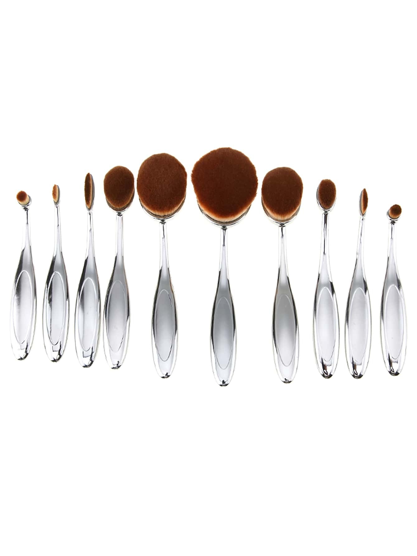 Image of 10PCS Silver Professional Toothbrush Makeup Brush Set