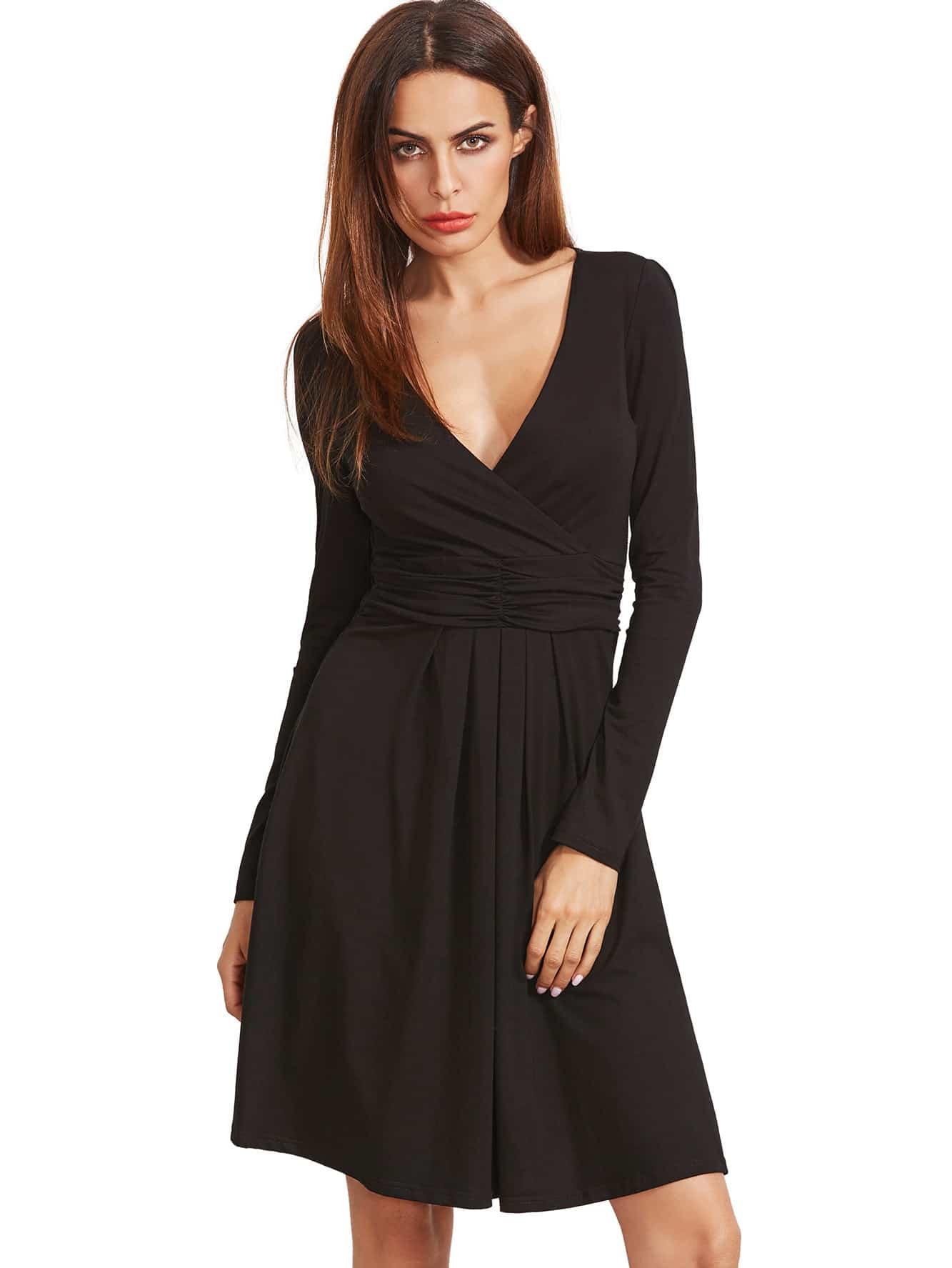 Фото Black V Neck Long Sleeve Ruched Dress. Купить с доставкой