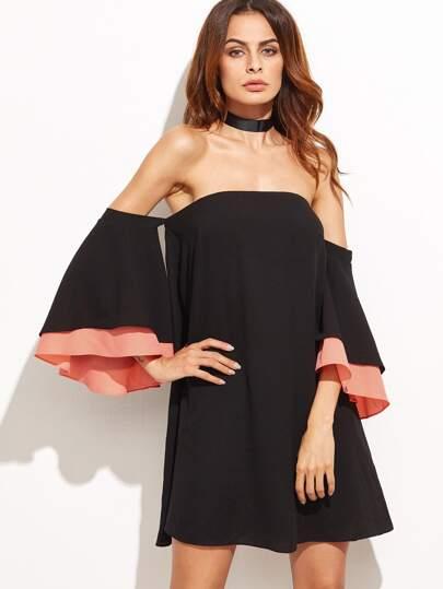 Black Layered Bell Sleeve Off The Shoulder Dress