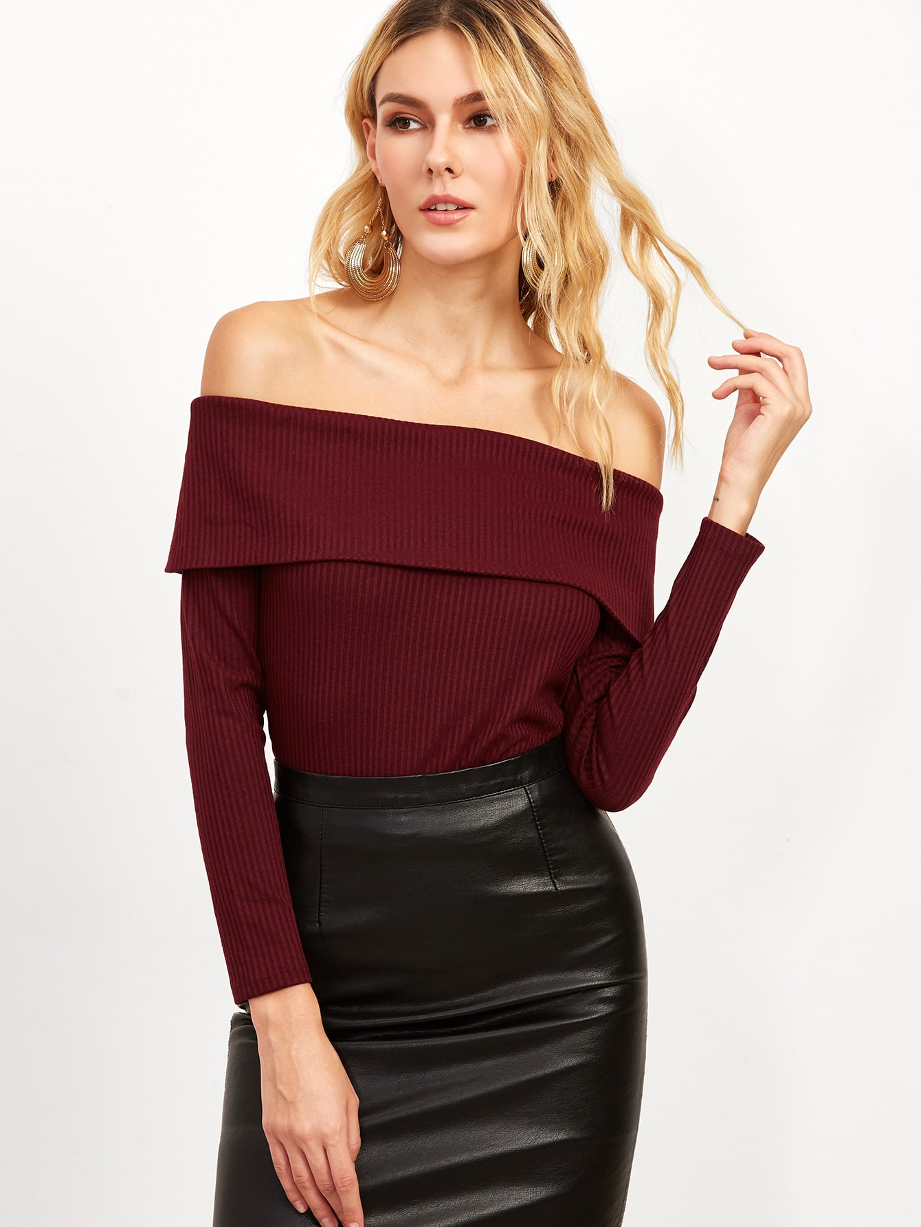 Burgundy Foldover Off The Shoulder Ribbed T-shirt tee160928402