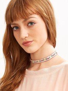 White Floral Ribbon Choker Necklace