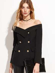 Black Off The Shoulder Fold Over Double Buttons Blazer