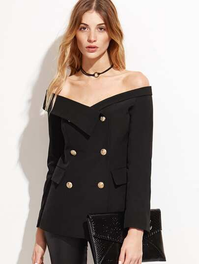 Bardot Fold Over Military Blazer