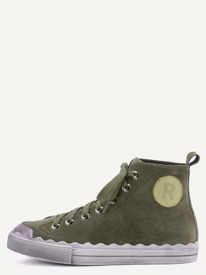 Army Green Genuine Leather Distressed High Top Flat Sneakers