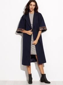 Navy Coin Fringe Detail Embroidered Kimono Sleeve Wrap Coat