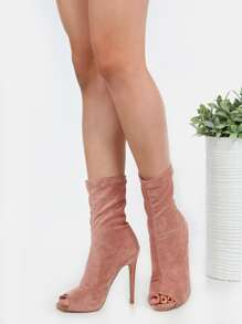 Peep Toe Faux Suede Ankle Boots BLUSH
