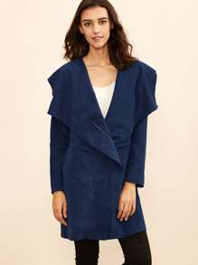 Navy Drape Collar Asymmetric Zip Hooded Coat