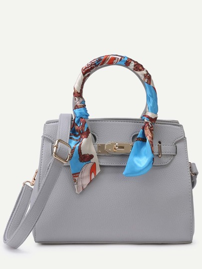 Grey Pebbled PU Buckle Strap Handbag With Strap