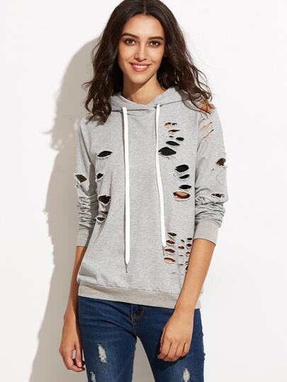 Heather Grey Raglan Sleeve Ripped Hooded Sweatshirt