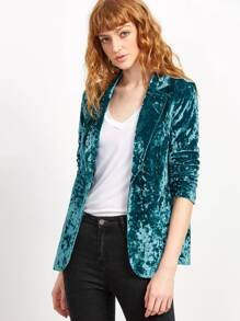 One Button Crushed Velvet Blazer