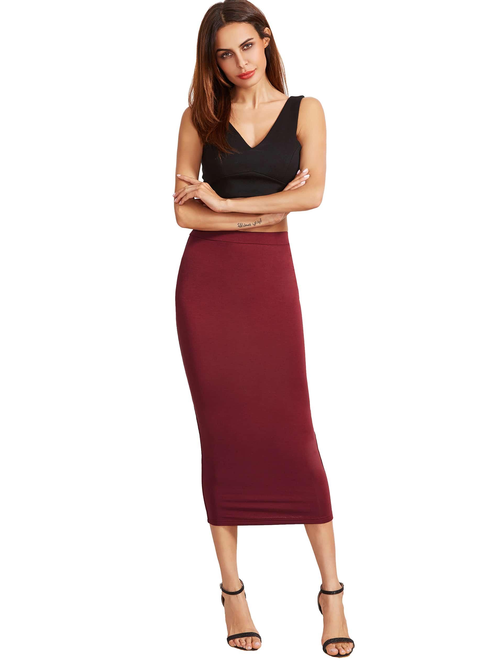 High Waist Sheath Skirt