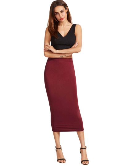 High Waist Sheath Skirt