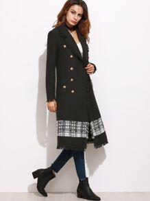 Black Contrast Panel Fringe Trim Double Breasted Tweed Coat