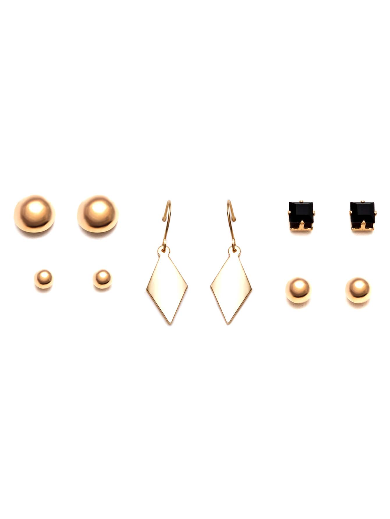 Gold Plated Geometric Earrings Set