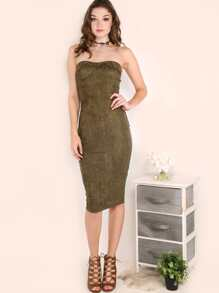 Suede Strapless Bustier Dress OLIVE