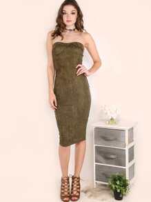 Suede Strapless Bustier Dress OLIVE