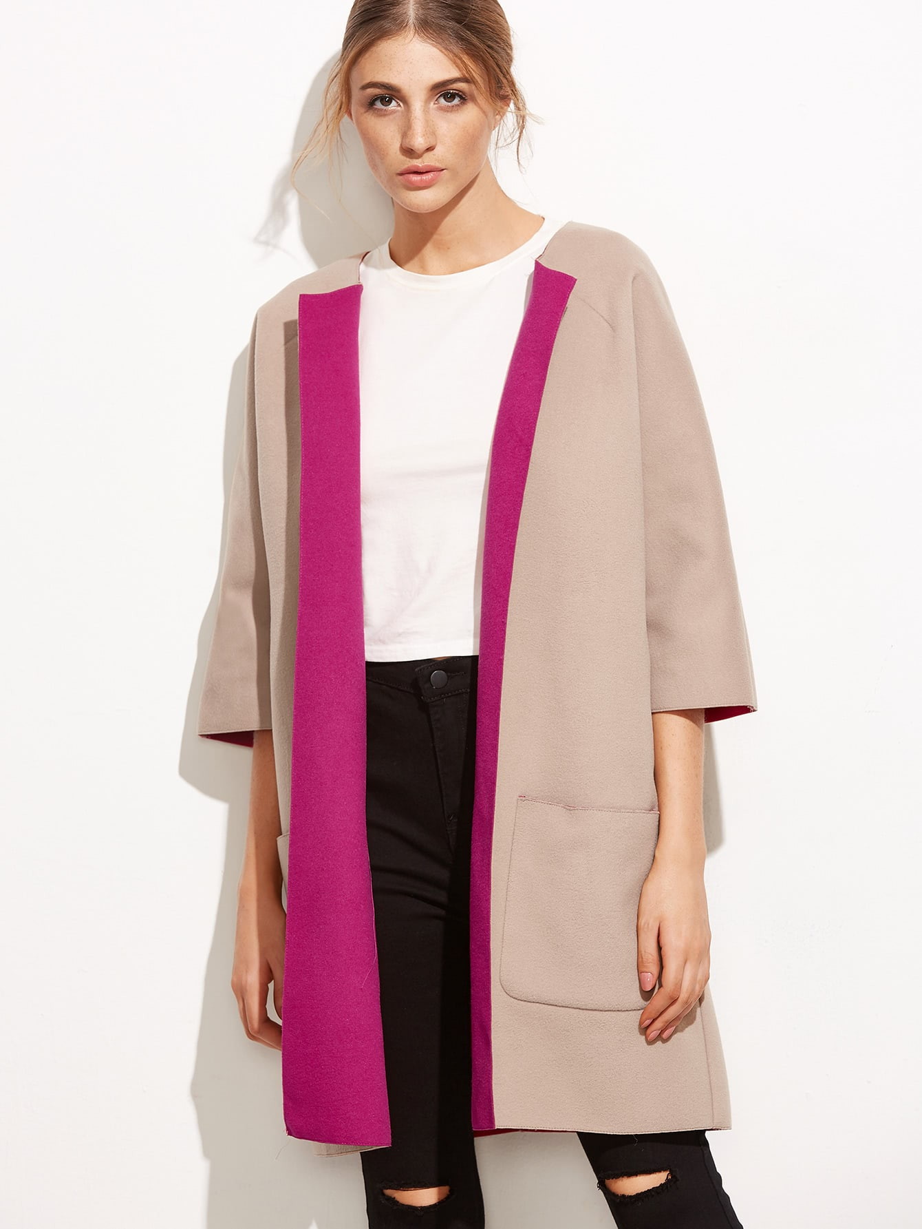 Buy Pink Two Tone Three Quarter Sleeve Pocket Collarless Coat