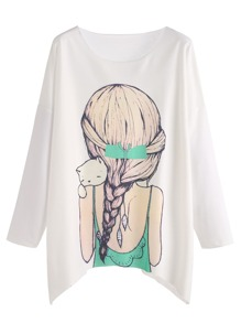 Girl Print Drop Shoulder Tee