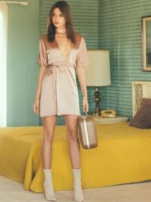 Light Khaki Deep V Neck Self Tie Wrap Dress