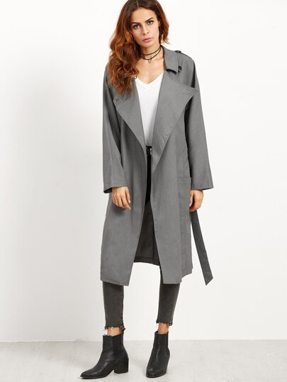 Grey Pockets With Belt Coat