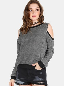 Cold Shoulder Sweater Knit Pullover BLACK