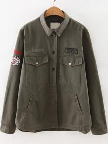 Army Green Letter Print Patch Coat With Pockets