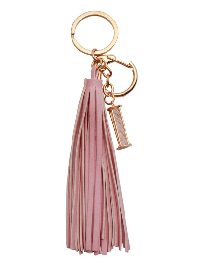Pink Faux Leather Tassel Crystal Keychain
