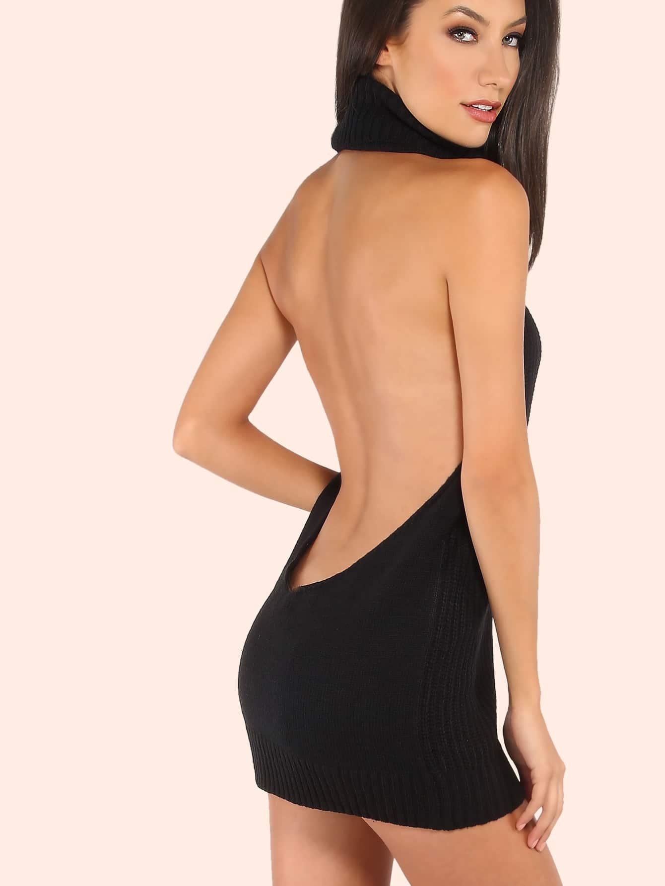 Backless Cowl Neck Mini Sweater Dress BLACK -SheIn(Sheinside)