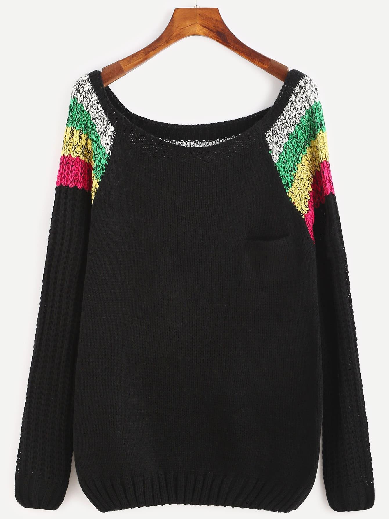 Color Block Scoop Neck Raglan Sleeve Sweater sweater160929452