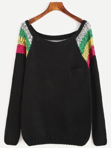 Color Block Scoop Neck Raglan Sleeve Sweater