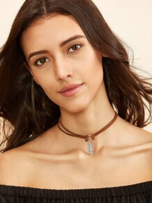 Brown Leaf Pendant Cord Choker Necklace