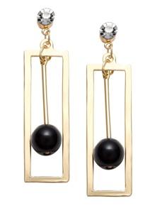 Gold Hollow Square Rhinestone Bead Drop Earrings
