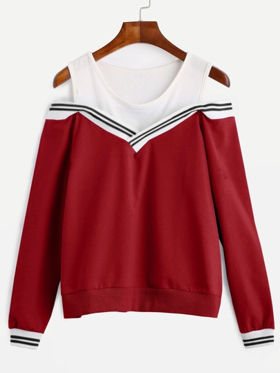Red Striped Contrast Open Shoulder Sweatshirt